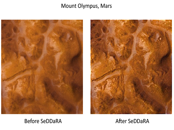 Deconvolution of an image of the Mars surface